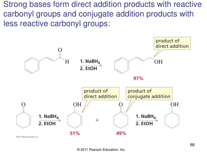 Strong bases form direct addition products with reactive