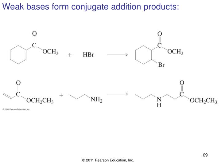 Weak bases form conjugate addition products: