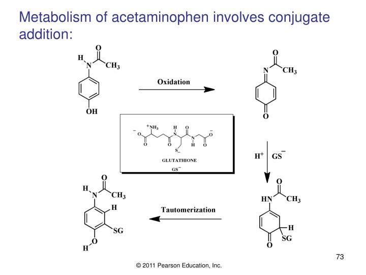 Metabolism of acetaminophen involves conjugate addition: