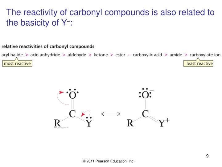 The reactivity of carbonyl compounds is also related to