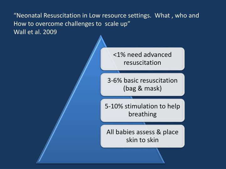 """Neonatal Resuscitation in Low resource settings.  What , who and How to overcome challenges to  scale up"""