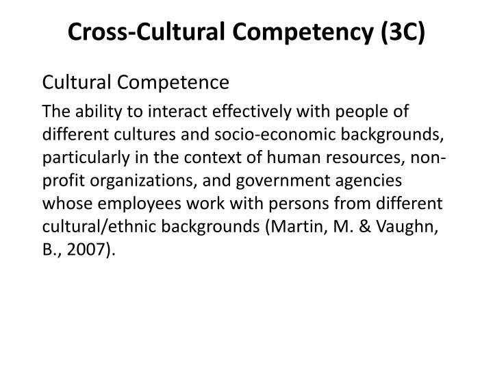 Cross-Cultural Competency (3C)
