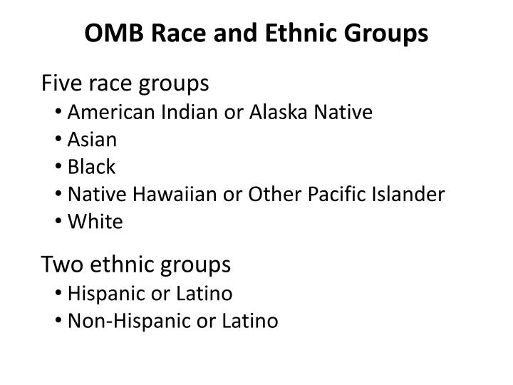 OMB Race and Ethnic Groups