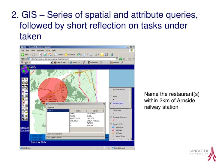 2. GIS – Series of spatial and attribute queries, followed by short reflection on tasks under taken