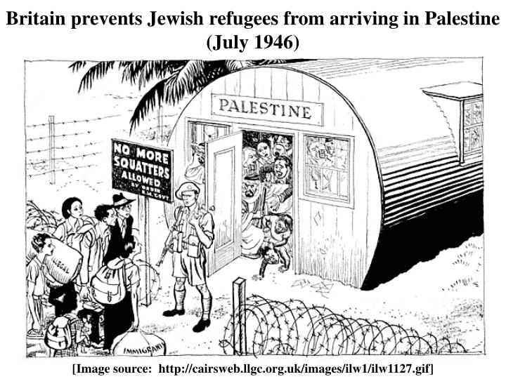 Britain prevents Jewish refugees from arriving in Palestine