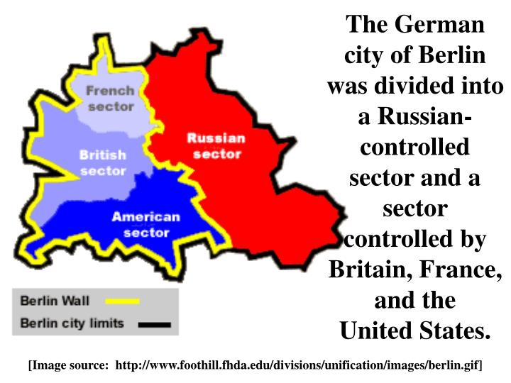 The German city of Berlin was divided into a Russian-controlled sector and a sector controlled by Britain, France, and the