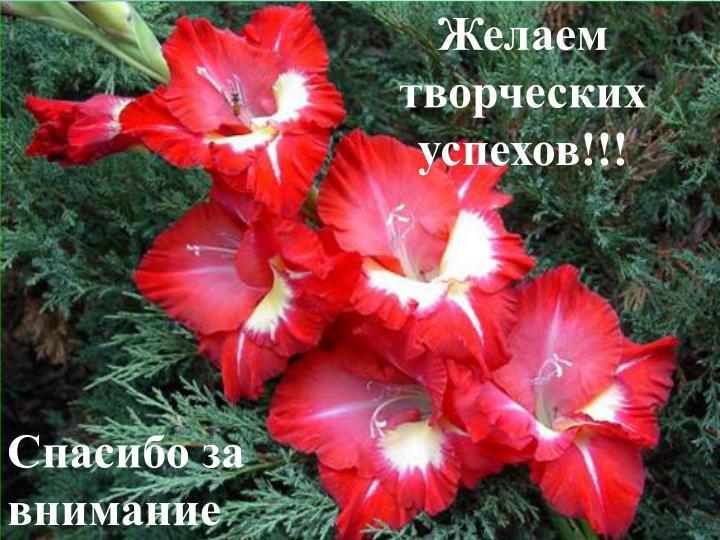 Желаем творческих успехов!!!