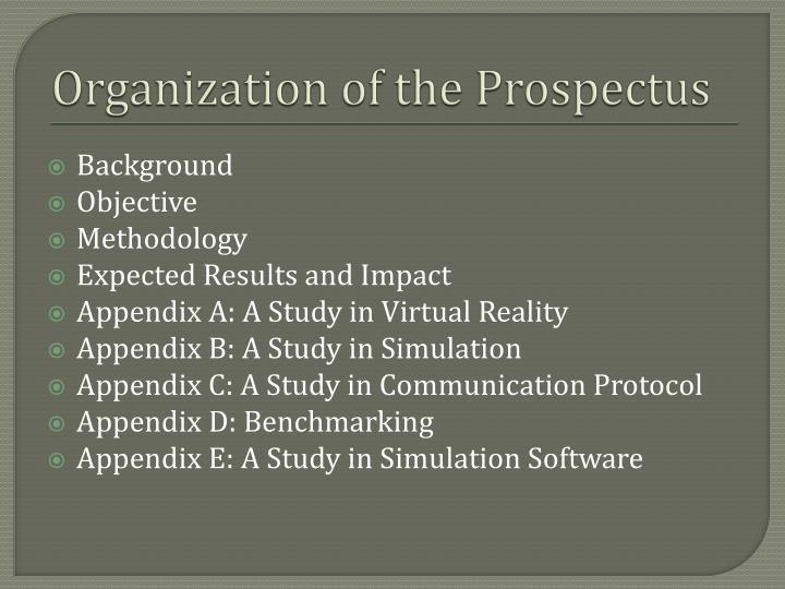 Organization of the Prospectus