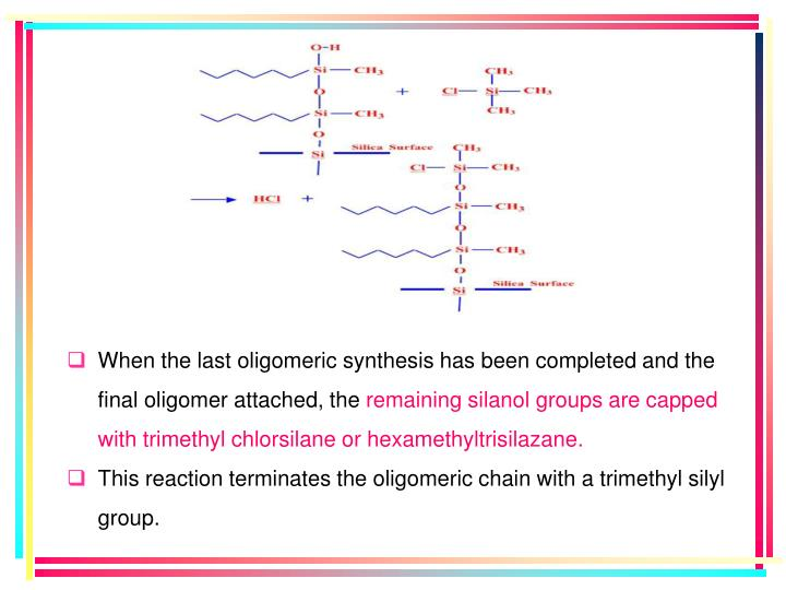 When the last oligomeric synthesis has been completed and the final oligomer attached, the