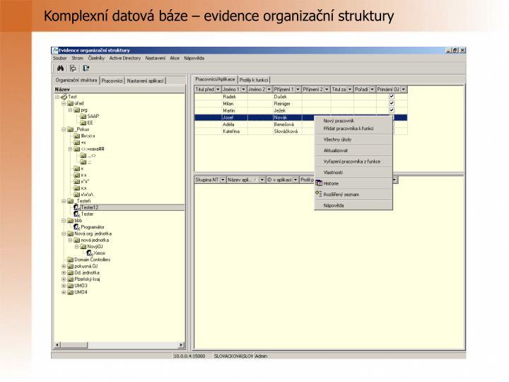 Komplexní datová báze – evidence organizační struktury