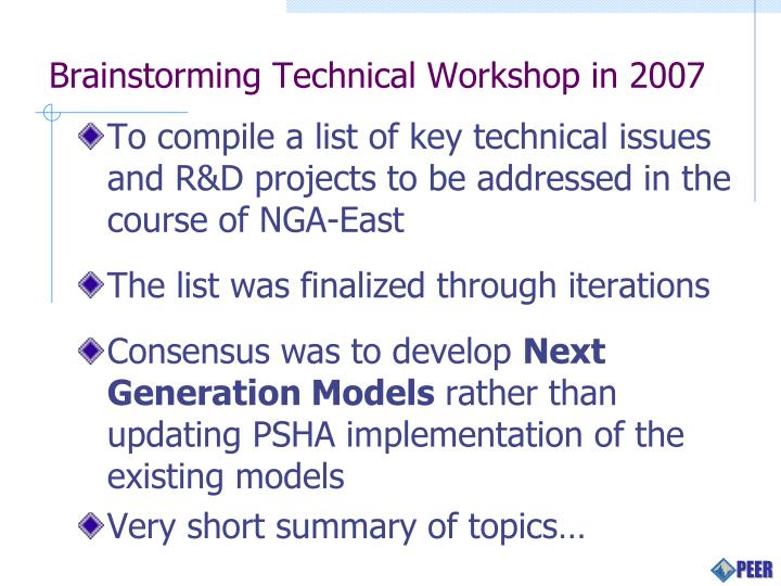 Brainstorming technical workshop in 2007