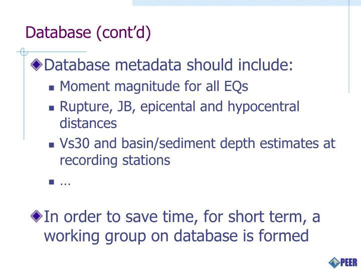 Database (cont'd)