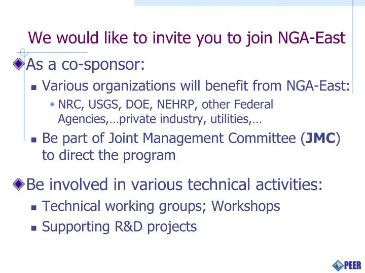 We would like to invite you to join NGA-East