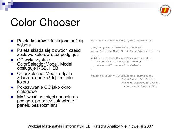 Paleta kolorów z funkcjonalnością wyboru