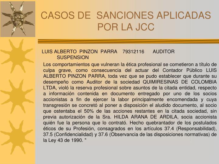 CASOS DE  SANCIONES APLICADAS POR LA JCC