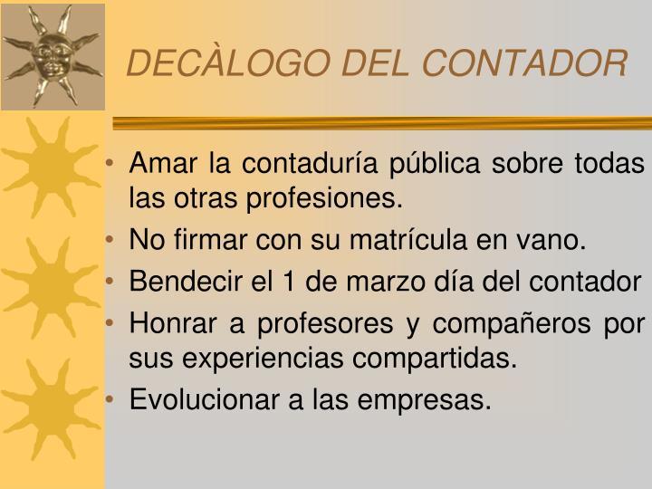 DECÀLOGO DEL CONTADOR