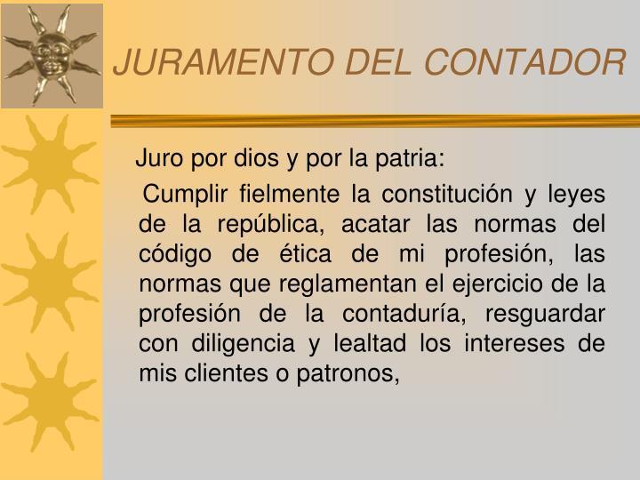 JURAMENTO DEL CONTADOR