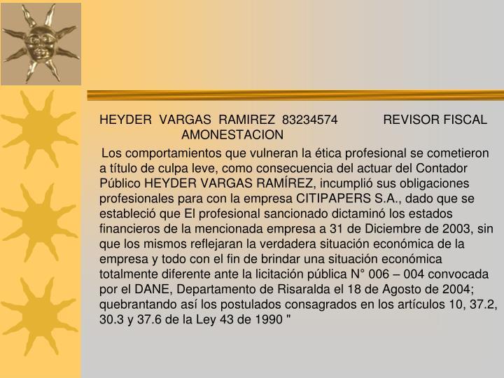 HEYDER  VARGAS  RAMIREZ83234574REVISOR FISCAL AMONESTACION