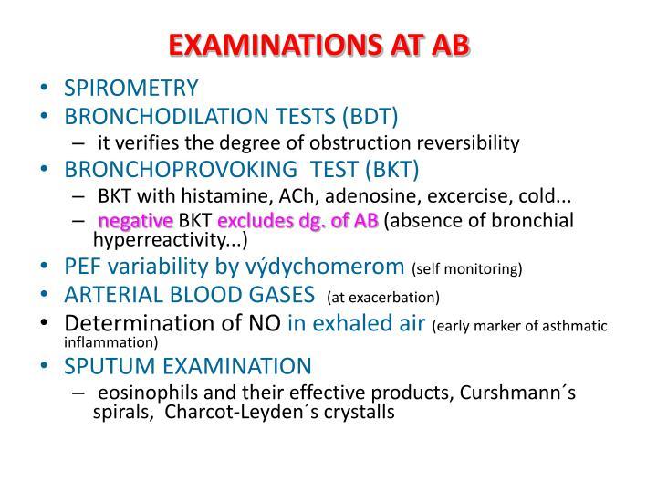 EXAMINATIONS AT AB