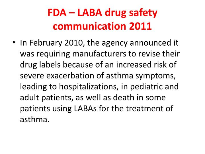 FDA – LABA drug safety communication 2011
