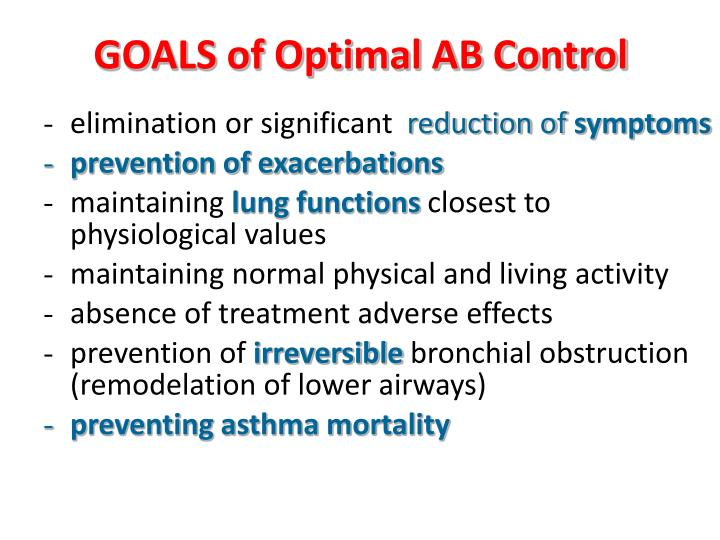 GOALS of Optimal AB Control