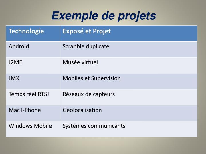 Exemple de projets