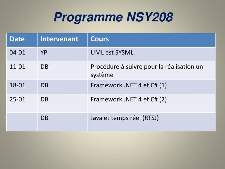 Programme NSY208