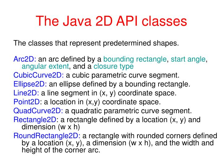 The Java 2D API classes