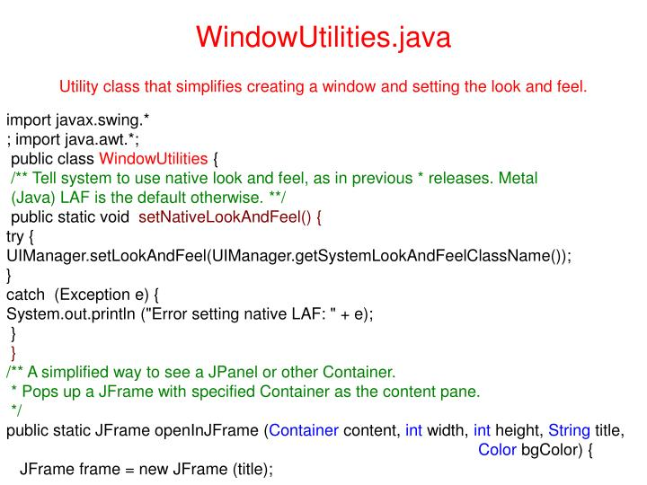 WindowUtilities.java