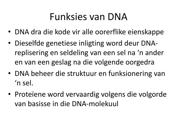 Funksies van DNA