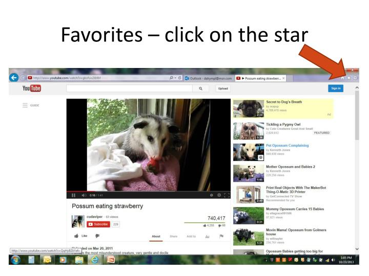 Favorites – click on the star