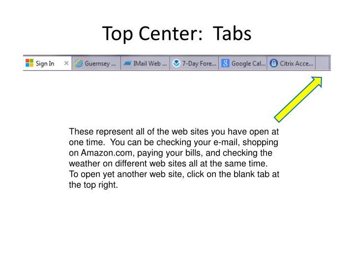 Top Center:  Tabs