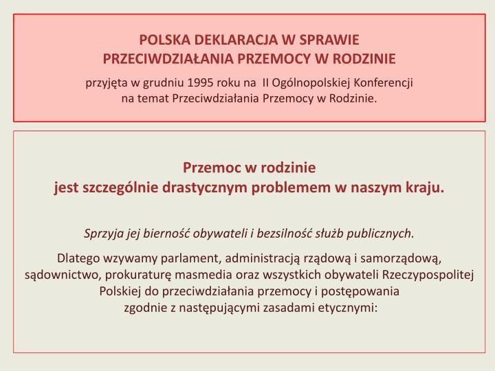 POLSKA DEKLARACJA W SPRAWIE