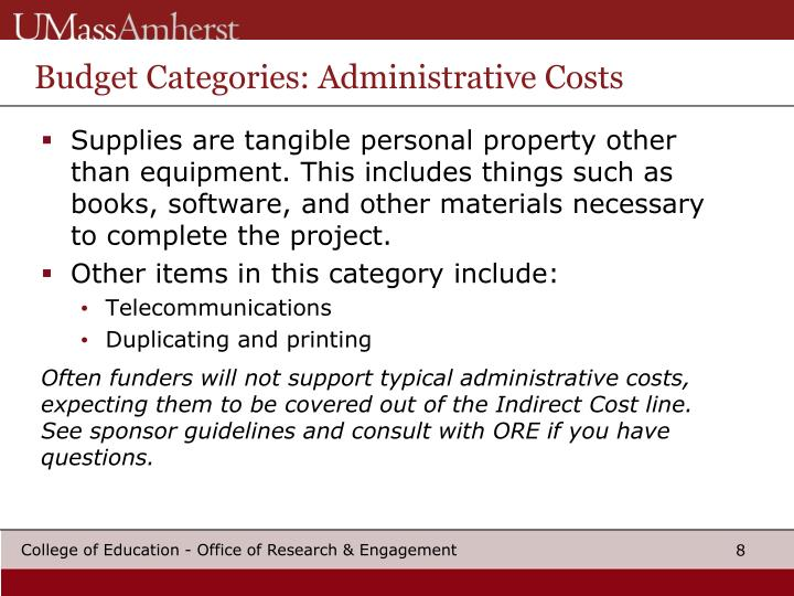 Budget Categories: Administrative Costs