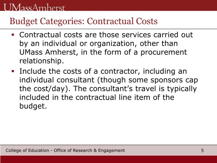 Budget Categories: Contractual Costs