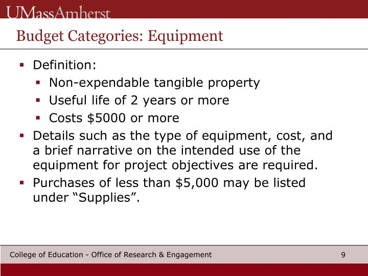 Budget Categories: Equipment