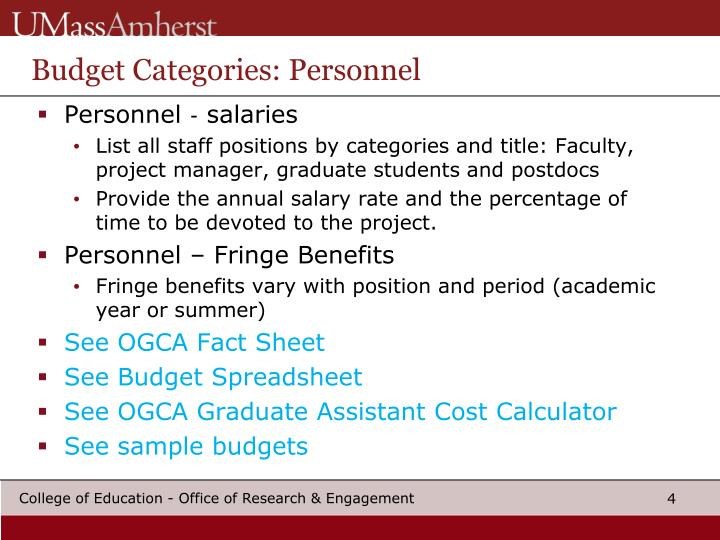 Budget Categories: Personnel