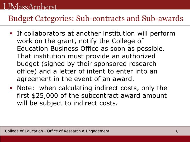 Budget Categories: Sub-contracts and Sub-awards