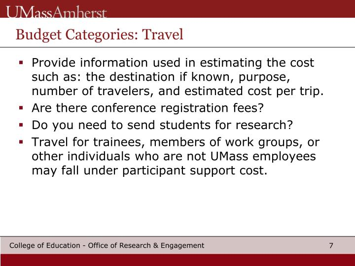 Budget Categories: Travel