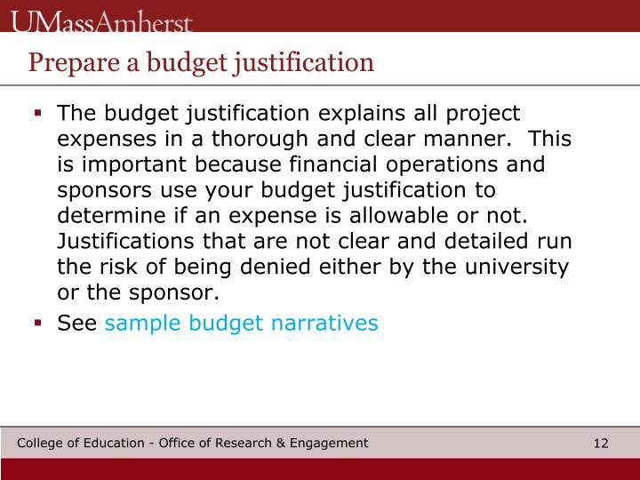 Prepare a budget justification
