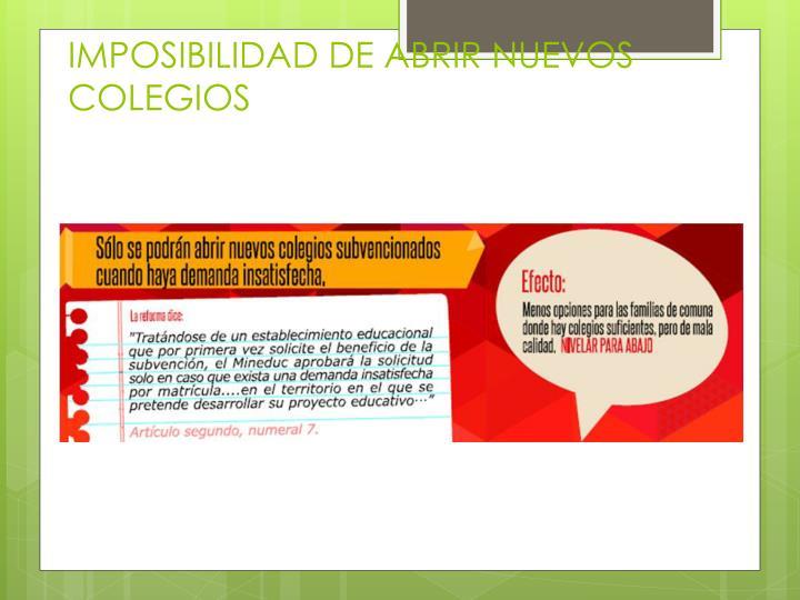 IMPOSIBILIDAD DE ABRIR NUEVOS COLEGIOS