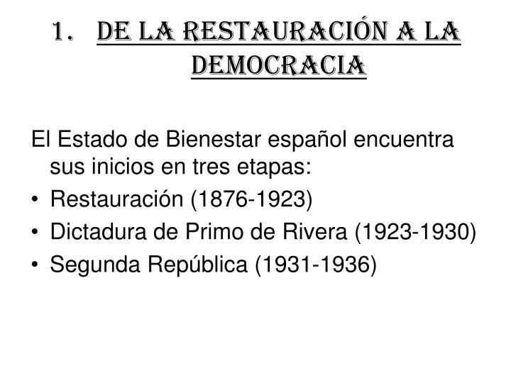 DE LA RESTAURACIÓN A LA DEMOCRACIA