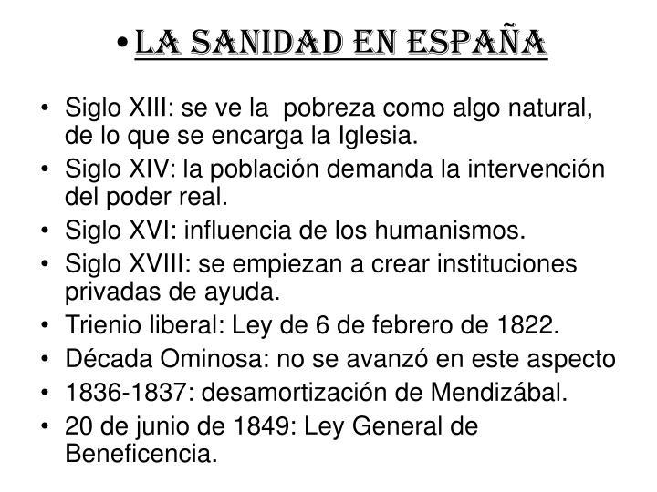LA SANIDAD EN ESPAÑA