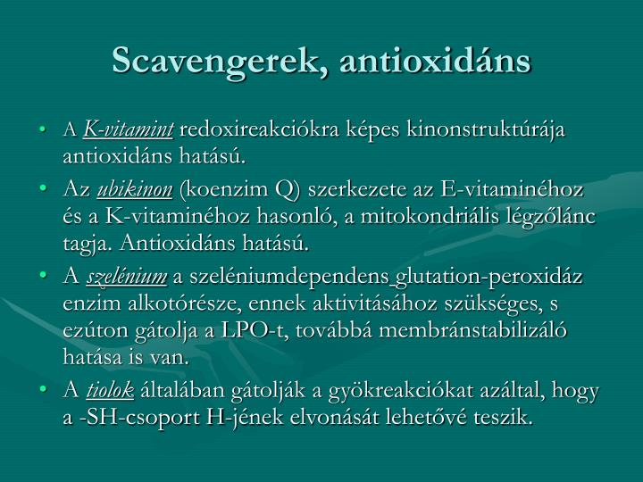 Scavengerek, antioxidns