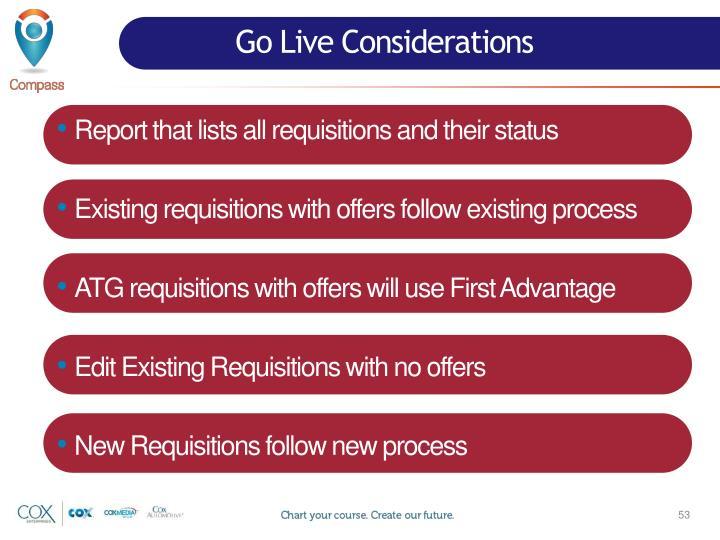 Go Live Considerations
