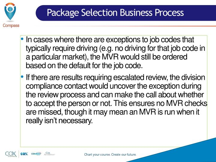 Package Selection Business Process