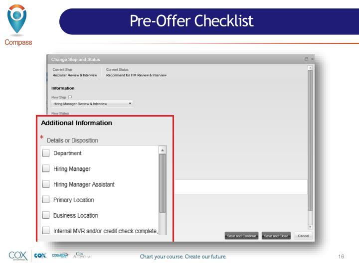 Pre-Offer Checklist