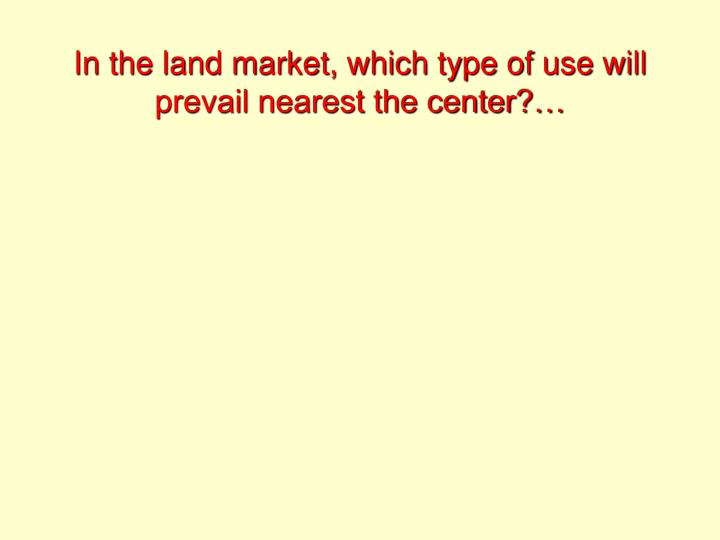 In the land market, which type of use will prevail nearest the center?…