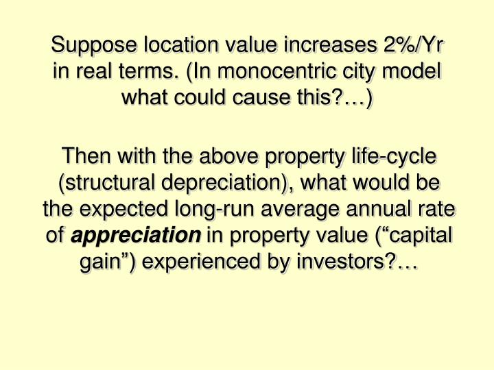 Suppose location value increases 2%/Yr in real terms. (In monocentric city model what could cause this?…)
