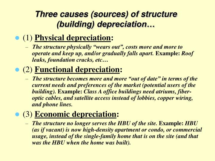 Three causes (sources) of structure (building) depreciation…